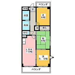 パークサイドグロリア[1階]の間取り