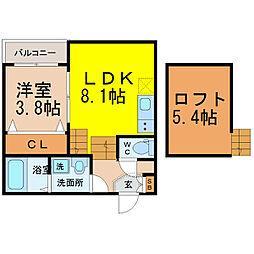 愛知県名古屋市西区香呑町5丁目の賃貸アパートの間取り