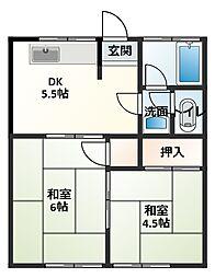 渡邉アパート[2号室]の間取り