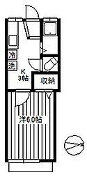 サンロイヤル早稲田 1階1Kの間取り