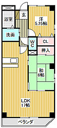愛知県名古屋市中川区昭明町2丁目の賃貸マンションの間取り
