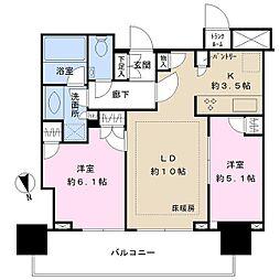 津田沼 ザ・タワー 19階2LDKの間取り