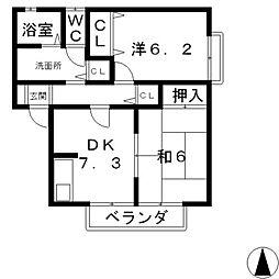 ハウス茶屋B棟[1階]の間取り