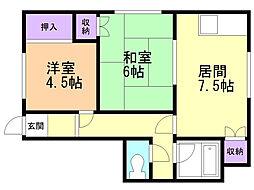 ルグラン亀田本町 2階2DKの間取り