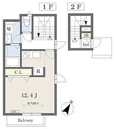 川内三十人町集合住宅 2階ワンルームの間取り