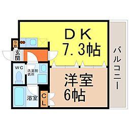 愛知県名古屋市熱田区大宝3丁目の賃貸マンションの間取り