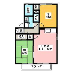 HKガーデン B棟[2階]の間取り