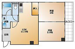 兵庫県神戸市垂水区坂上4丁目の賃貸マンションの間取り