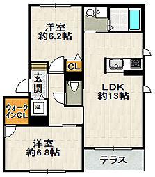 兵庫県宝塚市山本南3丁目の賃貸マンションの間取り