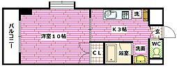 クレスト昭和中[6階]の間取り