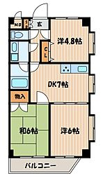 神奈川県横浜市西区西戸部町2丁目の賃貸マンションの間取り