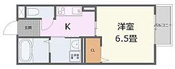 山陽電鉄本線 亀山駅 徒歩10分の賃貸アパート 1階1Kの間取り