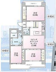 UNIVERSAL SOUTH FUJISAWA TOWER[11階]の間取り