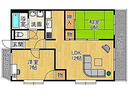 風雅富松[2階]の間取り