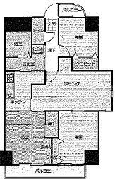 愛知県名古屋市中川区横堀町2丁目の賃貸マンションの間取り