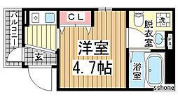 兵庫県神戸市東灘区住吉宮町2丁目の賃貸アパートの間取り