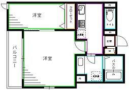 PALACE OGIKUBO 4階2Kの間取り