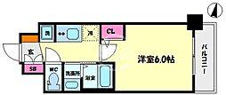 エステムコート難波サウスプレイスVIラグジー 7階1Kの間取り