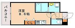 福岡市地下鉄七隈線 渡辺通駅 徒歩3分の賃貸マンション 3階1Kの間取り