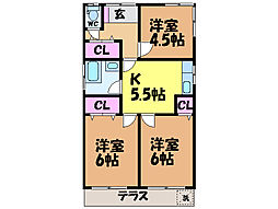 [一戸建] 愛媛県松山市北久米町 の賃貸【/】の間取り