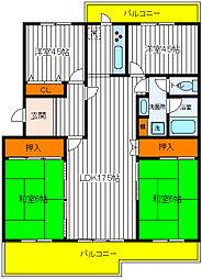東京都昭島市つつじが丘2丁目の賃貸マンションの間取り