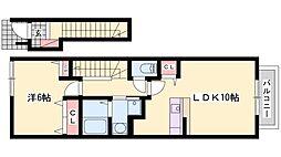 兵庫県加古郡播磨町北本荘2丁目の賃貸アパートの間取り