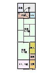 第2文化住宅[1階右2号室]の間取り