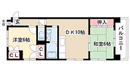 愛知県名古屋市昭和区折戸町6丁目の賃貸マンションの間取り