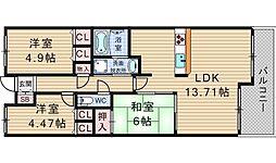 グランソレイユ日本橋[5階]の間取り