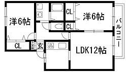 兵庫県宝塚市山本西2丁目の賃貸アパートの間取り