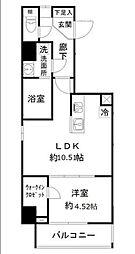 都営大江戸線 新御徒町駅 徒歩7分の賃貸マンション 9階1LDKの間取り
