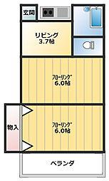 トバリハイツ1[105号室]の間取り