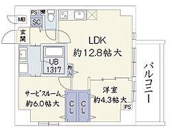 ウッドリバー新大阪[502号室]の間取り