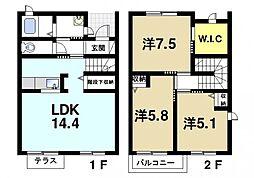 [タウンハウス] 奈良県大和郡山市今国府町 の賃貸【/】の間取り