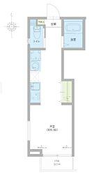 仮称)足立区西伊興1丁目新築アパート 1階ワンルームの間取り