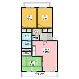 エステート篠木[2階]の間取り