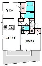 Osaka Metro谷町線 守口駅 徒歩13分の賃貸マンション 1階2LDKの間取り