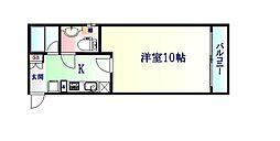 仙台市営南北線 愛宕橋駅 徒歩15分の賃貸マンション 1階1Kの間取り