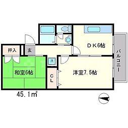 セジュールカスガ[2階]の間取り