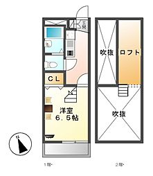 レオパレスWakamizu 3[2階]の間取り