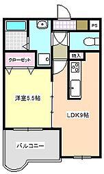 三重県四日市市白須賀2の賃貸アパートの間取り
