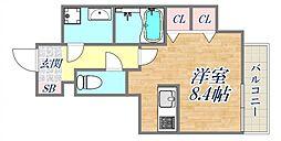 ブランTAT西宮江上町 7階ワンルームの間取り