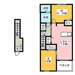 花メゾンB[2階]の間取り