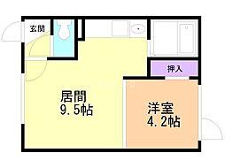 Mimosa桜町B 1階1DKの間取り