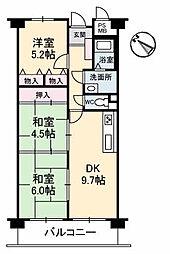 広島県東広島市八本松町飯田の賃貸マンションの間取り