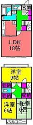 [テラスハウス] 千葉県八千代市ゆりのき台6丁目 の賃貸【/】の間取り