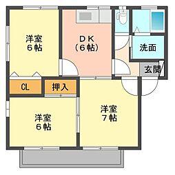 セジュール東川口[1階]の間取り