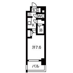 名古屋市営名城線 東別院駅 徒歩7分の賃貸マンション 7階1Kの間取り