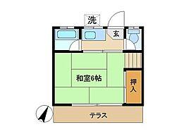 東京都練馬区石神井町6丁目の賃貸アパートの間取り