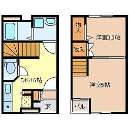 仙台市営南北線 北仙台駅 徒歩12分の賃貸アパート 1階2DKの間取り